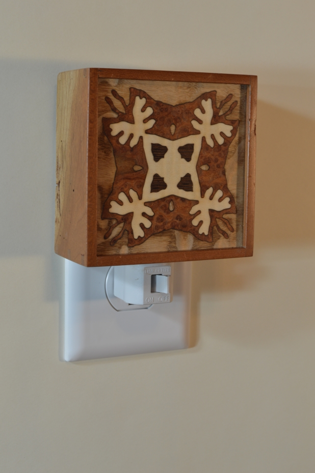 Reclaimed hardwood nightlight with Bentley Star inlay, unlit