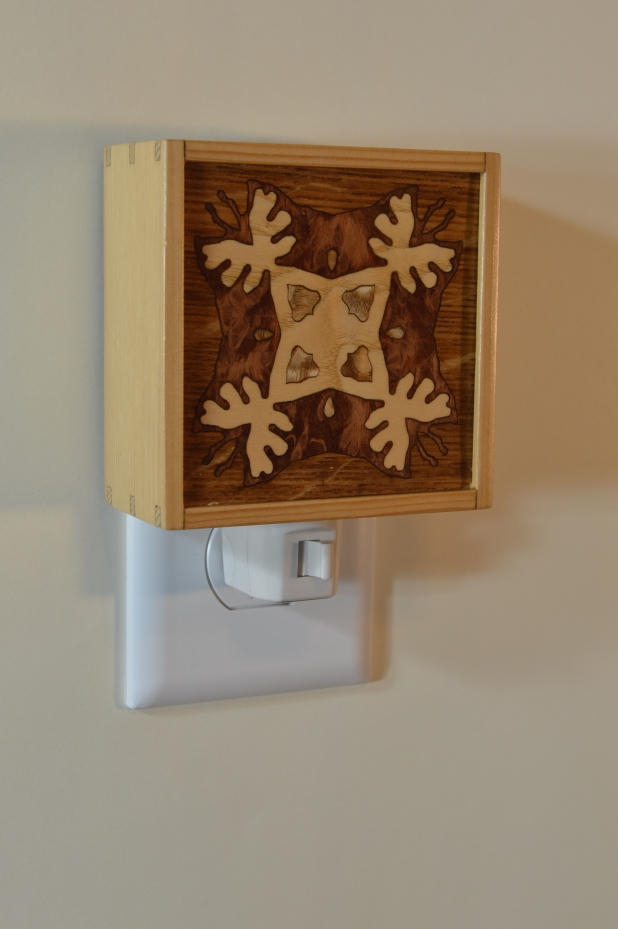 Fir nightlight with Bentley Star inlay, unlit