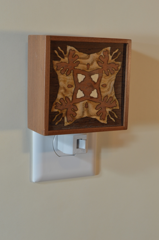 Red Wood nightlight with Bentley Star inlay, unlit