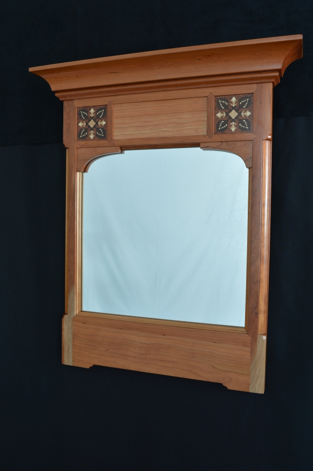 Handmade natural cherry mirror, featuring marquetry pattern taken from a quilt m