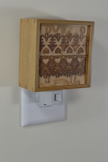 White oak nightlight with Bentley Lace pattern inlay