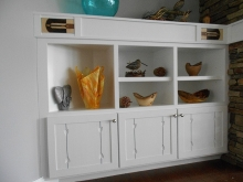Painted Display Shelving with Marquetry Accents/ left side