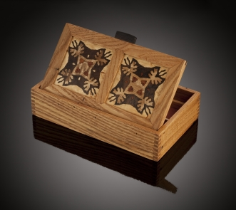 Bentley Star patterned wood marquetry night light