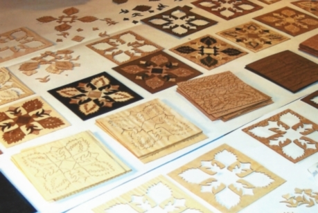 Marquetry patterns ready for assembly